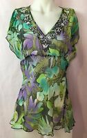 WD NY Green & Purple Floral Sheer V Neck Silk Sleeveless Jeweled Top Size 12