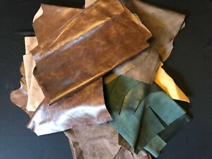6 Pound Upholstery Mixed Larger Scrap Leather Pieces, Mixed Colors and Weights