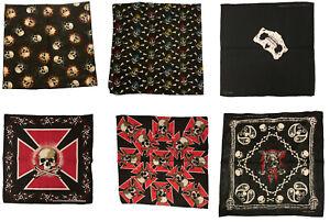 Black Skull Bandanas, 21 x 21,  - 1, 3, 6 pack - Styllion