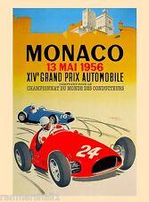 1956 Monaco Grand Prix Automobile Race Car Advertisement Vintage Poster