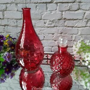 Red Flower Bud Vase & Diamond Cut Perfume Bottle