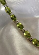 10 Ct, Natural Chinese, Peridot Bracelet, Tennis, Rhodium Plated Sterling Silver