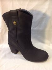 Hush Puppies Black Mid Calf Leather Boots Size 6