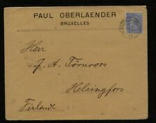 Belgium  large cover to  Finland  1899      AT0516