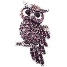Owl Strigiformes Bird Pet Cocktail Ring Costume Jewelry Purple Halloween Party