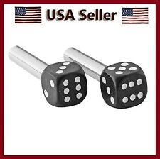 BLACK/WHITE-CHROME PLATED STEMS DICE DOOR LOCK KNOBS AUTO CAR O TRUCK  KNOB SET