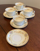 Set of 4 Coffee Cups & 5 Saucers Noritake China Coypel 3732 Flowers Gold Trim