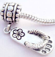 Mini Cute Slipper Silver hallmarked Bead Stopper thread fit Charm Bracelet JS209