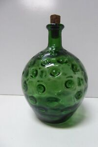 ART GLASS ITALIAN MID CENTURY VINTAGE DIMPLED GREEN BOTTLE DECANTER  GENIE STYLE
