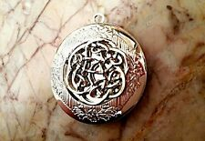 """Round IRISH KNOT PHOTO LOCKET Celtic silver on sterling 18"""" chain necklace"""