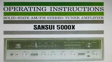 SANSUI 5000X stéréo tuner ampli operating instructions Inc avec Diagnostics liés anglais