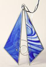 Fensterdeko aus Glas  blau geometrisch , ca 18x18 cm   (145292)