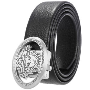 Men's Genuine Leather Ratchet Dress Belts with Auto Lock Buckle for Trim to Fit