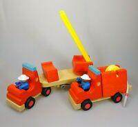 2 x Feuerwehr Woody Click Holzfahrzeug Holz Holzspielzeug Set