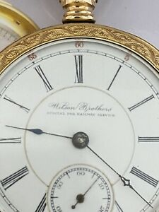 Illinois Wilson Brothers King of the Road 18size 17 Jewel pocket watch GF