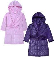 Girls Glitter Dressing Gown Kids New Shine Night Robe Pink Purple Age 2-13 Years
