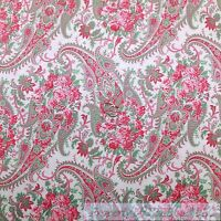 BonEful Fabric FQ Cotton Quilt White Pink Paisley Rose Flower Shabby Chic Easter
