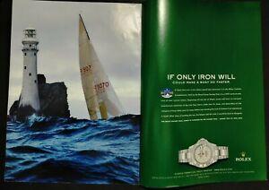2003 Rolex Yacht-Master Fastnet Royal Crown Watch Original 2 pg Color Print Ad