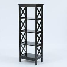 Luxen Home Black X-Sided Narrow 4-Tier Bookcase