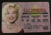 Marilyn Monroe novelty Drivers License ID collectors card Souvenir California