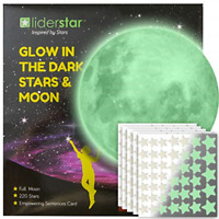 Glow in The Dark Stars and Free Removable Full Moon Wall Stickers 220 adhesive