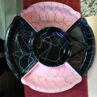 Damaged Mid Century Modern Ceramic Lazy Susan Pink & Black California Pottery