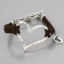 Brown Leather Rhodium Silver Hammered Heart Love Bracelet