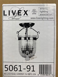 Livex Lighting Jefferson Ceiling Mount in Brushed Nickel - 5061-91