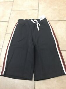 NWT HANNA ANDERSSON Black Side Stripe Pull On Sweat Shorts, Boys Size 140 (10)