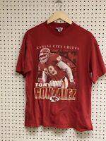 Vintage Kansas City Chiefs Tony Gonzalez Red Graphic T-shirt Size XL