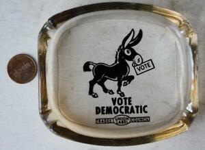 1960s LBJ Era Democratic Party Donkey Labor Union amber glass ashtray-VINTAGE!