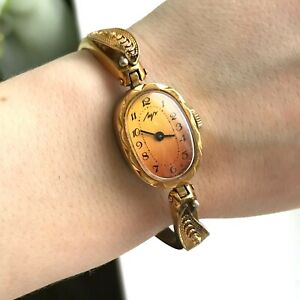 Vintage Wristwatch LUCH 90s Luxury Yellow Gradient Women Golden Bracelet TESTED