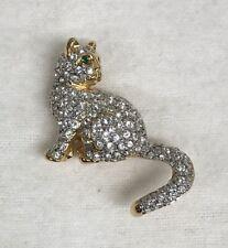 Swarovski Signed Pave Crystal Cat Brooch