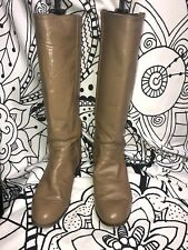 """JUSTIN RIDING BOOTS""""TAN LEARHER UPPER PULL ON SIZE 6.5B"""