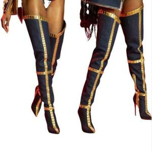 Runway Ladies Pointy Toe Super High Heel Over The Knee High Boots Party 36/47 L