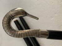 Antique Style Silver Designer Brass Swan Head Handle Wooden Stick Walking Cane