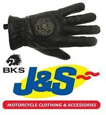 BKS SUMMER LEATHER GLOVES BLACK CAFE RACER  RETRO CLASSIC SHORT MOTORCYCLE J&S
