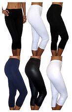 WOMENS PANTS STRETCH CROPPED LEGGINGS BLACK UK SIZE 6 8 10 12 14 16 18 20 PLUS