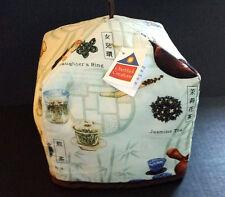 Tea Cosy Reversible Oriental Zen Tranquility Snow Lotus &Neutral Cream Print NWT