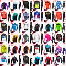 New Mens Cycling Long Sleeve Jersey Bib Pants Set Team Bike Outfits Sports Kits