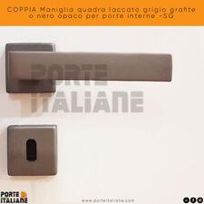 COPPIA Maniglia quadra laccato grigio grafite o nero opaco per porte interne -SG