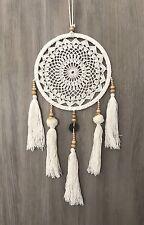 Boho Chic Crochet 21.5cm Dream Catcher White/Cream Pom Poms Tassels Wood Beads