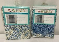 Waverly Paisley Verveine Tier And Valance Curtain Set Blue And White