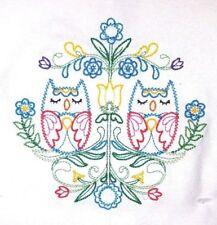 SWEDISH FOLK ART OWLS EMBROIDERED FLOUR SACK DISH TOWEL