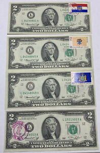 1976 $2 Dollar Bill First Day Stamp Issue, lot of (4)