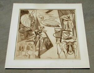 Mid Century Modernist Lithograph with Animals and Flowers Signed ? Fuller 1962