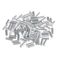 200 Stück Aluminium Single Crimp Hülsen Rohr Angelzubehör Stecker