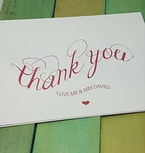 10 x Personalised Thank You cards Complete with Envelopes