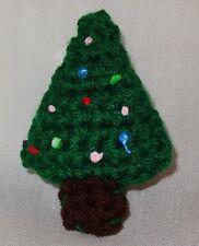 Vintage Hand Crochet Christmas Tree Holiday Pin Brooch Handmade Green