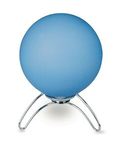 Bedside Lamp Lumetto Modern Design Chrome With Glass Blue Sphere
